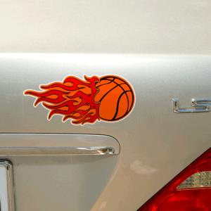 Flaming basket ball weatherproof label on car trunk