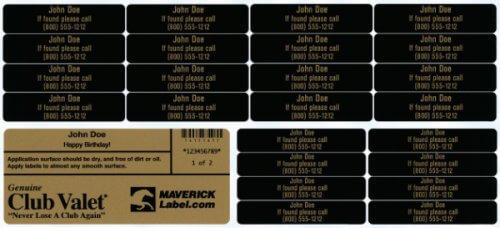 Club-Valet label sheet